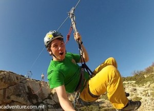 Maltas fastest zip lining isle tours malta as you step away from rock you are suspended by the zip line as you literally fly across the solutioingenieria Choice Image